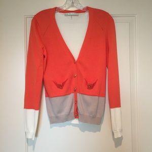 Trina Turk Orange Color Block Cardigan